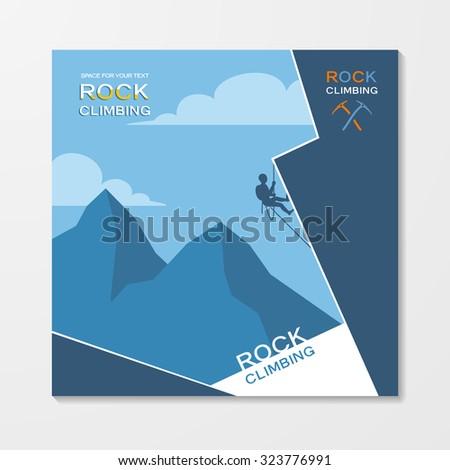 Rock climbing flyer template - stock vector