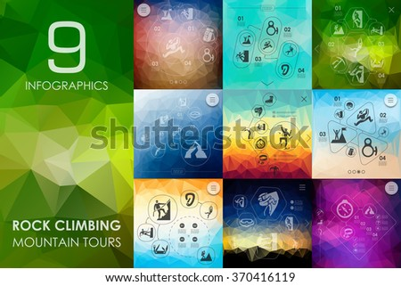 rock climbing infographic with unfocused background - stock vector