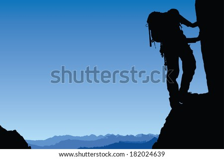 Rock climbing, Mountaineering - stock vector
