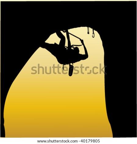 rock climbing 1 - vector - stock vector