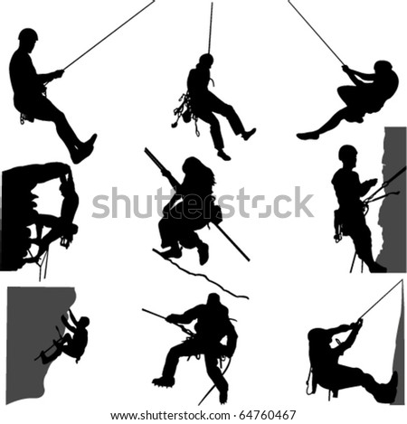 rock climbing 1 - vector - stock vector