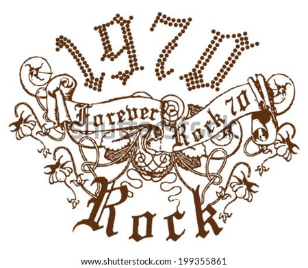 Rock Clothing Fashion Print - stock vector
