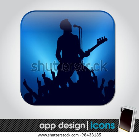 rock concert app icon for mobile devices - stock vector