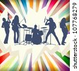 Rock concert band silhouettes burst background illustration vector - stock