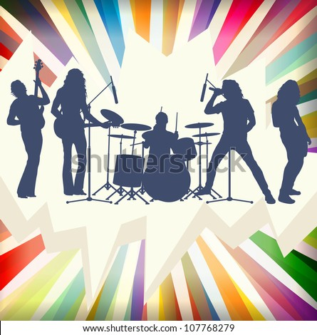 Rock concert band silhouettes burst background illustration vector - stock vector