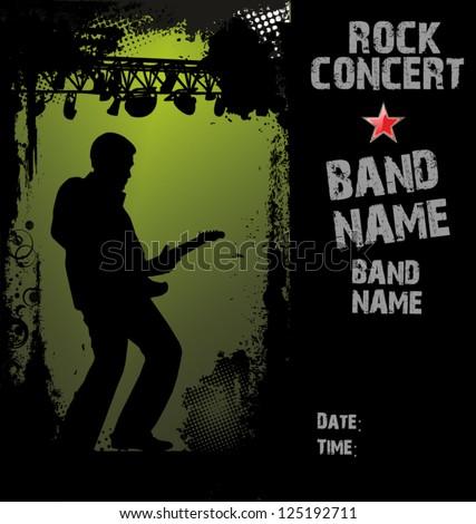 Rock concert poster - stock vector