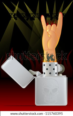 Rock Concert/Rock N Roll Hand and Lighter - stock vector