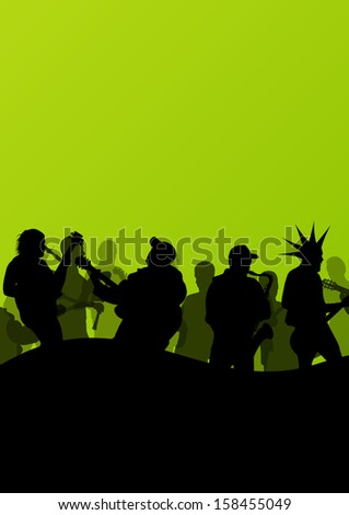 Rock concert various musicians abstract landscape background illustration vector
