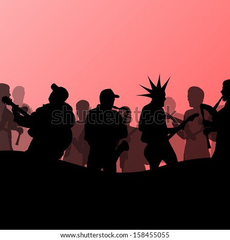 Rock concert various musicians abstract landscape background illustration vector - stock vector