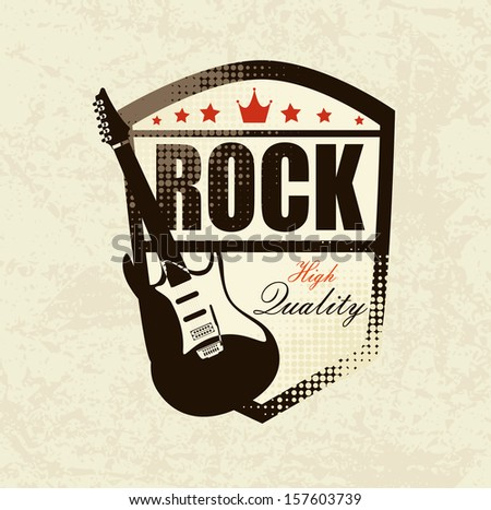 rock design over  pattern background vector illustration - stock vector