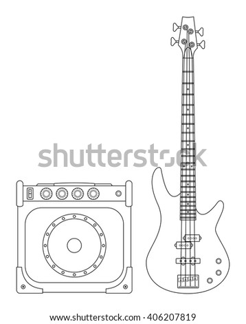 Rock electric bass guitar and amplifier for concerts and festivals outlined and in black and white - stock vector
