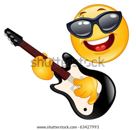 Rock emoticon playing the guitar - stock vector
