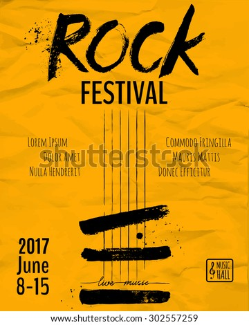 Rock event poster or flyer template. Vector illustration - stock vector