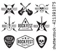 Rock fest music badge/Label vector set. For band signage, prints and stamps. Black festival hipster logo with guitars, skull and hand