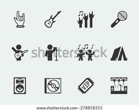 Rock festival, concert vector icon set - stock vector