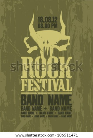 Rock festival design template with cow skull and place for text. - stock vector