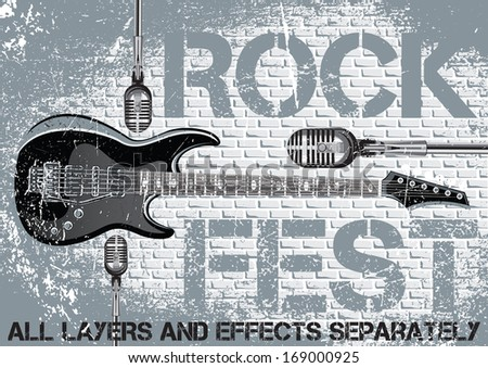 Rock festival design template with guitar microphone - stock vector