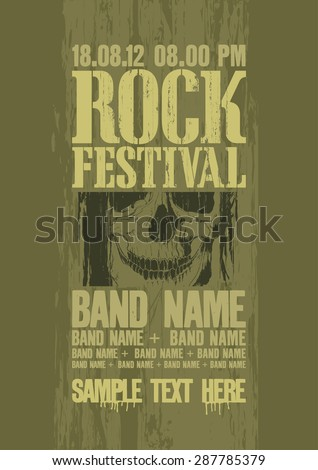 Rock festival design template with skull and place for text. - stock vector