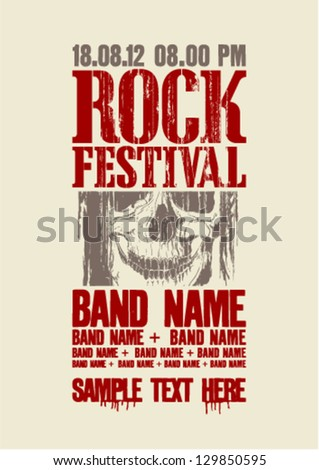 Rock festival design with skull and place for text. - stock vector