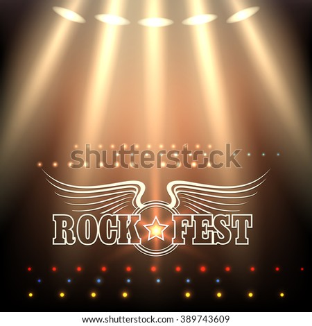 Rock Festival Poster Template. Stage in spotlights and wording Rock Fest decorated by wings and star. Free font used. - stock vector