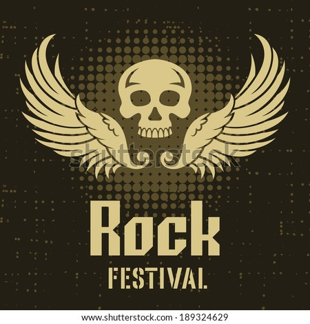 Rock Festival poster template with a Skull and Wings