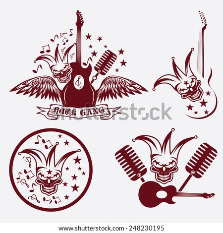 rock gang set with jester skull,wings and guitar - stock vector