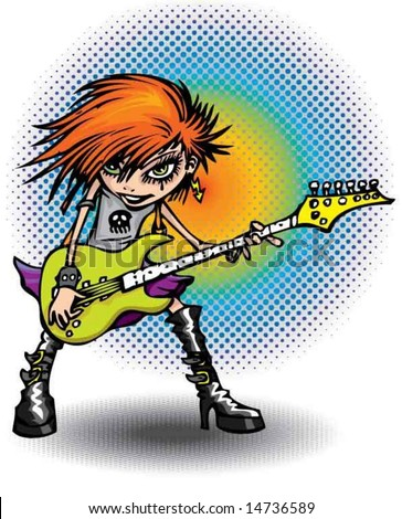 Rock girl and guitar - stock vector