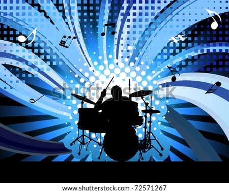 Rock group drummer. Vector illustration for design use. - stock vector