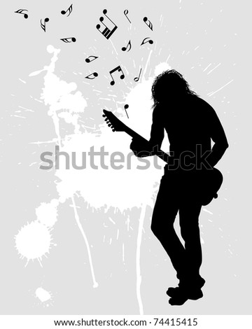 Rock group guitarist. Vector illustration for design use. - stock vector