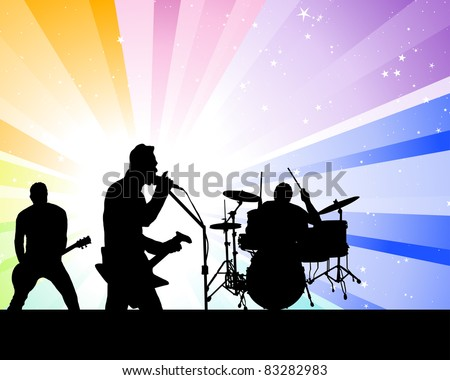 Rock group singers theme. Vector illustration for design use. - stock vector