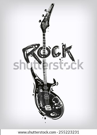 Rock guitar isolated on white - stock vector