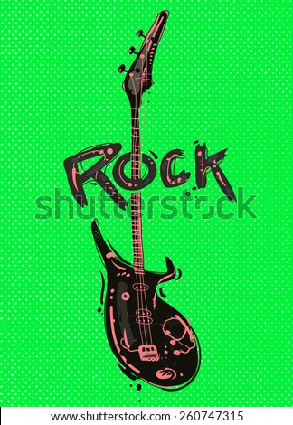 Rock guitar on burst background - stock vector