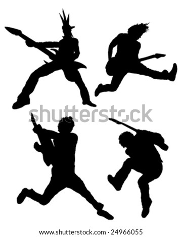 Rock guitar player silhouettes - stock vector