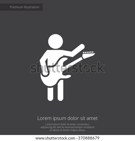 rock guitarist Icon Vector. rock guitarist Icon Art. rock guitarist Icon Picture. rock guitarist Icon. guitarist Icon logo. rock guitarist Icon Flat. rock guitarist Icon design, on dark background - stock vector