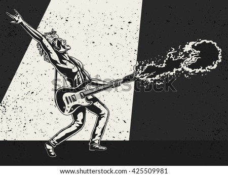 Rock Guitarist playing the electric guitar with Flame shooting out - stock vector
