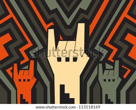 rock hands - stock vector
