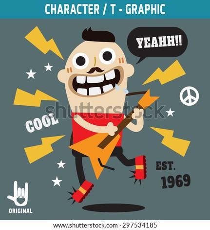 rock hipster, .illustration, vector, t-shirt graphicsfunky rocker apparel t shirt fashion design, rocker character cartoon, t- graphic, - stock vector