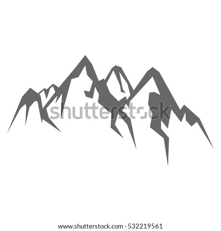 Rock mountain  silhouette vector illustration isolated on white background