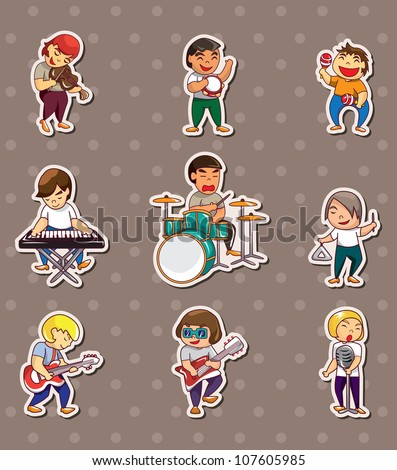 rock music band stickers - stock vector