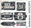 Rock music banner set - stock vector