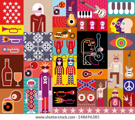 Rock Music Collage - vector illustration. Composition of various related images. EPS 10. - stock vector