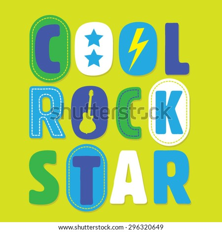 Rock music cool kids typography, t-shirt graphics, vectors - stock vector