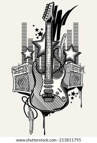 Rock music design - stock vector