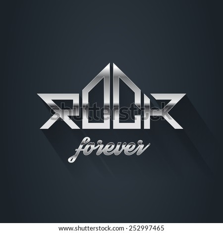 Rock Music forever - vector metal logo, emblem, label, badge or design element with long shadow. - stock vector