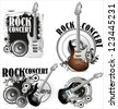 Rock music grunge labels - stock vector