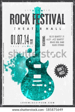 Rock music, poster background template. Texture effects can be turned off. - stock vector
