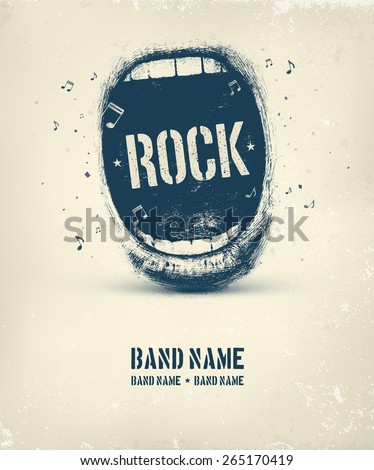 Rock music poster, eps 10 - stock vector