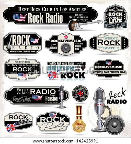 Rock music radio station labels - stock vector