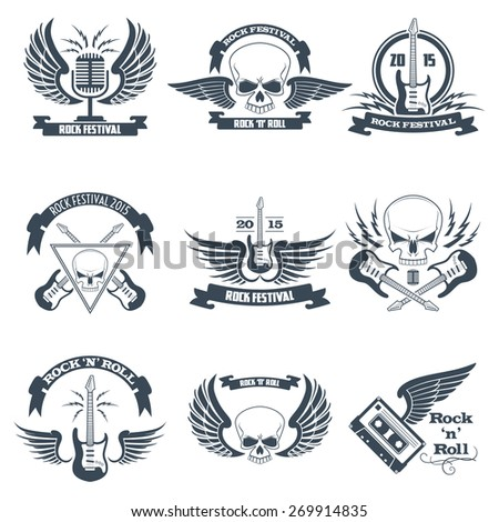 Rock music ribbon emblems set with skulls wings guitars isolated vector illustration - stock vector