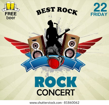 rock music sign - concert poster - stock vector